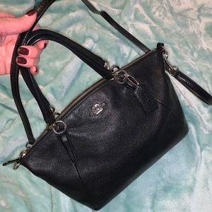 Coach black pebble leather satchel